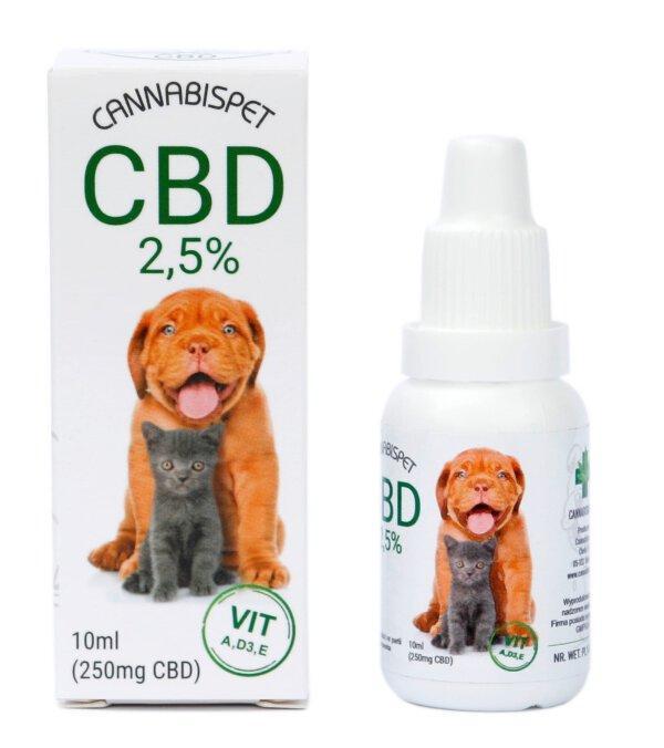 Olejek CBD dla zwierząt 2,5% CannabisPet